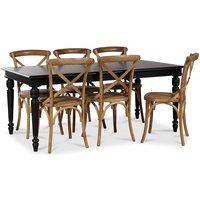 Paris matgrupp 180 cm bord svart + 6 st Gaston matstolar i natur