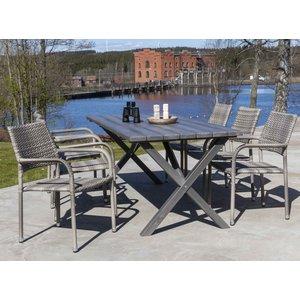 Scottsdale utematgrupp med 6 st karmstolar (stapelbara) och matbord 190 cm - Grå