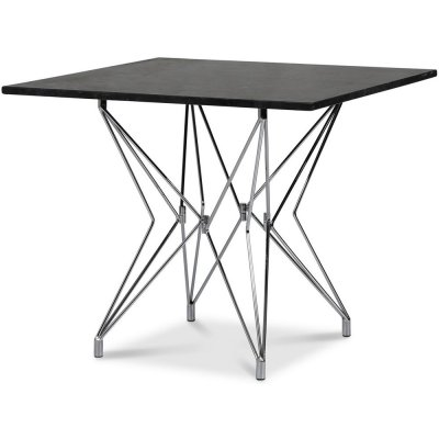 Zoo matbord 90x90 cm - Krom / Svart Granit