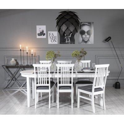 Gåsö matgrupp ovalt utdragbart inklusive 6 st Måsö stolar - Vit