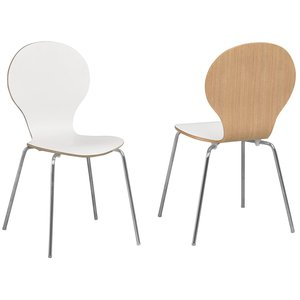Fusion stol stapelbar - Vit HPL-laminat ek/krom