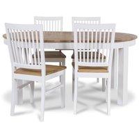 Dalarö matgrupp ovalt bord vit/oljad ek + 4 st Dalarö matstolar
