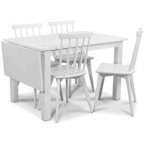 Sander matgrupp, Bord med klaff och 4 st vita Linköping pinnstolar
