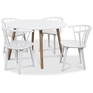 Rosvik matgrupp Runt bord vit/ek med 4 st vita Fredrik Pinnstolar med Karm