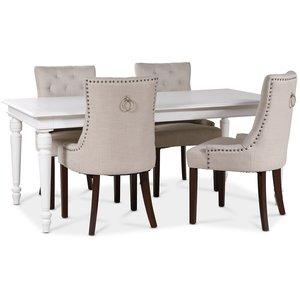 Paris matgrupp vitt bord med 4 st Tuva New Port stolar i beige tyg med rygghandtag