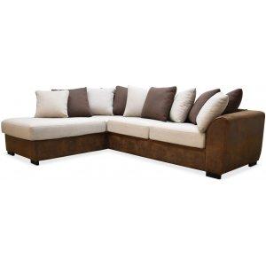 Delux soffa med öppet avslut vänster - Brun/Beige/Vintage