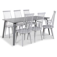 Visby matgrupp, 180 cm grått bord med 6 st vita Dalsland pinnstolar med armstöd