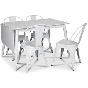 Tärnö matgrupp, Klaffbord med 4 st vita plåtstolar