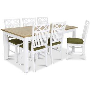 Skagen matgrupp - 180 cm Bord inklusive 6 st Herrgård Gripsholm stolar med grön sits - Vit/Ekbets