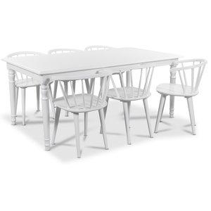Nomi matgrupp 180 cm bord med 6 st vita Fredrik Pinnstolar med karm