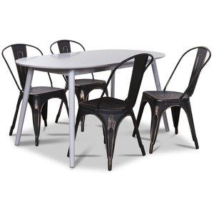 Göteborg matgrupp grått ovalt bord med 4 st Le Mans Plåtstolar - Grå / Svart guld