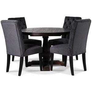 Lamier matgrupp Bord med 4 st Ventos stolar i mörkgrått sammet