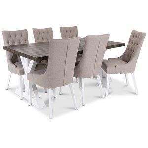 Provence Matgrupp med 6 st Tuva Dense stolar med beige tyg