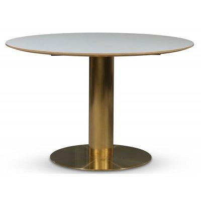 Empire matbord - Vit laminat / Borstad mässing