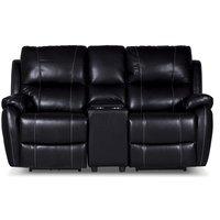 Enjoy Chicago El-Recliner 2-sits soffa med konsoll - Svart microfiber
