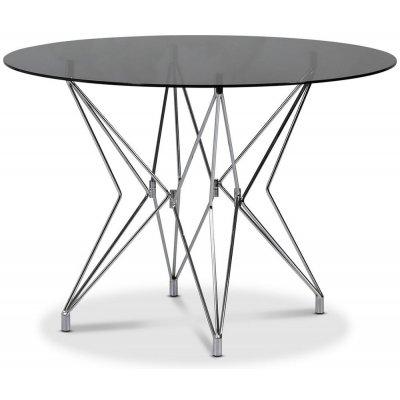 Zoo matbord Ø106 cm - Krom / Tonat glas