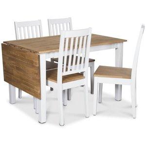 Österlen matgrupp, Klaffbord vit/ek med 4 st vita Simris stolar med ek-sits