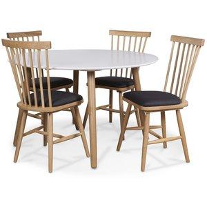 Rosvik matgrupp, Runt matbord med 4 st Småland pinnstolar - Vit/Ek