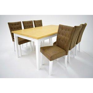 Ramnäs matgrupp - Bord inklusive 6 st Crocket stolar med brun vintage klädsel - Vit/ekbets