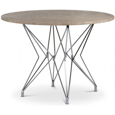 Zoo matbord Ø105 cm - Krom / Beige Empradore