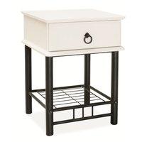 Nattduksbord Brea färg svart - vit