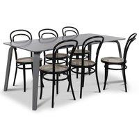 Visby matgrupp, 180 cm grått bord med 6 st Thonet No14 matstolar