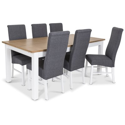 Skagen matgrupp - 180 cm Bord inklusive 6 st Isabelle stolar i grå klädsel - Vit/Ekbets