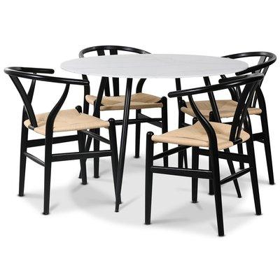 Sunda II matgrupp, 110 cm runt bord + 4 st Sunda stolar svarta / repsits