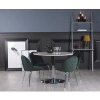 Plaza matgrupp, marmorbord med 4 st Plaza sammetsstolar - Grön/Vit/Krom