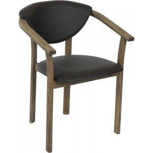 Holstebro karmstol - Rökt oljad ek/svart PU