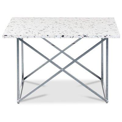 Terrazzo soffbord 75x75cm - Cosmos Terrazzo & underrede cross krom