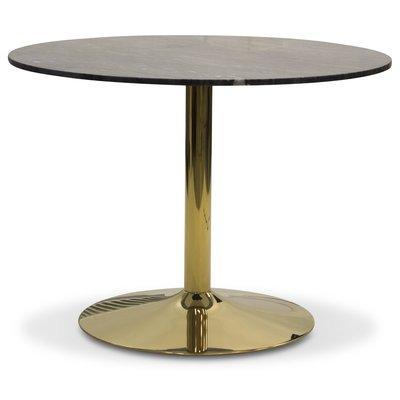 Plaza runt matbord - Grå marmor / Mässing
