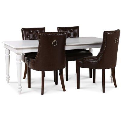 Paris matgrupp vitt bord med 4 st Tuva New Port stolar i brunt PU med rygghandtag