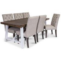 Colorado matgrupp, 200cm brunt/vitt bord med 6 st Ventos stolar i beige tyg