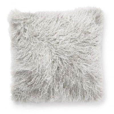 Shansi kuddfodral fårskinn - Ljusgrå/vit