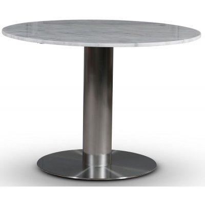 SOHO matbord Ø105 cm - Borstat aluminium / Ljus marmor