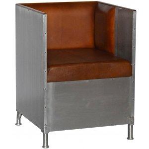 Abbe fåtölj i aluminium - Brunt läder & 8990.00
