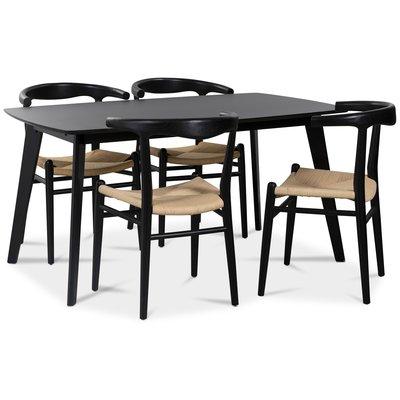 Sunda matgrupp: Oliver matbord HPL + 4 st Berit matstolar svart / repsits