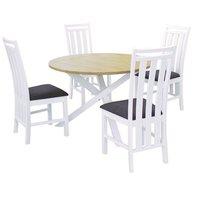 Skagen matgrupp - Runt bord inklusive 4 st stolar - Vit/Ek