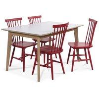Holger matgrupp 140 cm bord med 4 st röda Karl pinnstolar