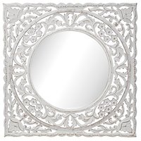 Carve fyrkantig spegel 60 cm - Antikvit