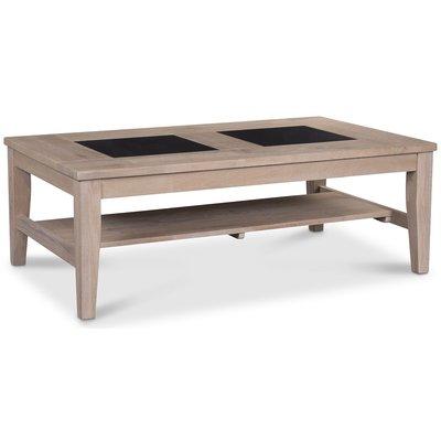 JASMINE soffbord - Ljus ek / svart granit