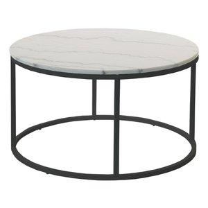 Accent soffbord rund 85 - Vit marmor / svart underrede