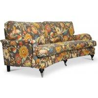 Savoy 3-sits svängd soffa med blommigt tyg - Havanna Brun