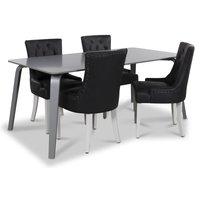 Visby matgrupp, 180 cm grått bord med 4 st Tuva matstolar i svart PU
