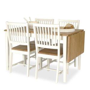 Matgrupp: Sidney matbord - 120x76 - vit /ekbets + 4 x Herrgård stol - träsits - helvit