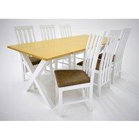 Isabelle matgrupp - Bord inklusive 6 st Nebraska stolar - Vit/ekbets