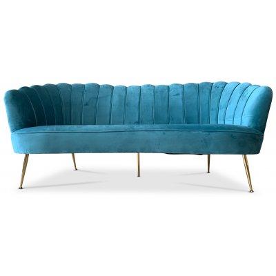 Snäckan 3-sits soffa - Turkos sammet / Mässing