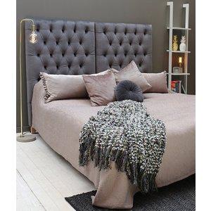 Lara sänggavel 90 cm - Grå Plysch