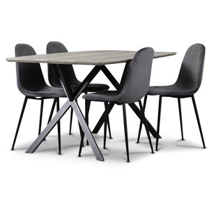 Smokey matgrupp, matbord med 4 st Carisma sammetsstolar - Grå